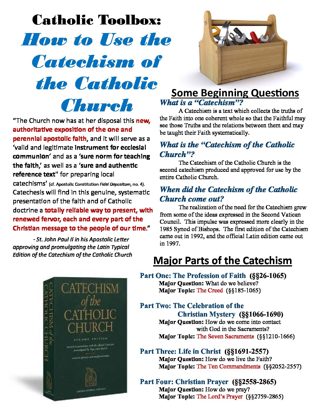 How To Use The Catechism Handout Pdf